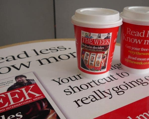 Dennis Publishing-The Week Coffee Cup and Tablewrap Advertising
