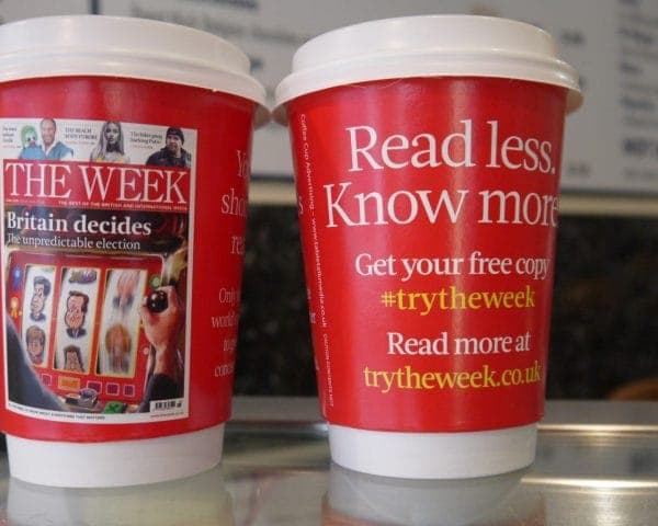 Dennis Publishing- The Week Coffee Cup Advertising