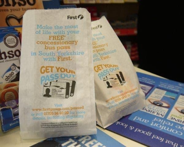 First Bus Pharmacy Bag Advertising