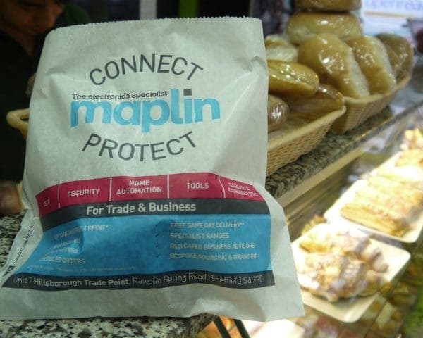 Maplin Sandwich Bag Advertising