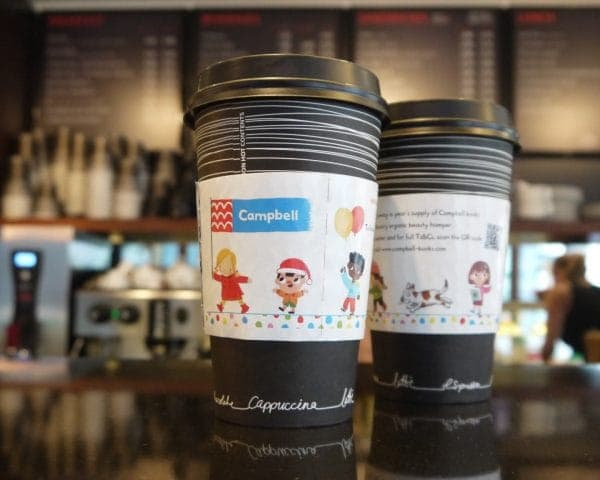 Pan Macmillan -Campbell Books Coffee Sleeve Advertising