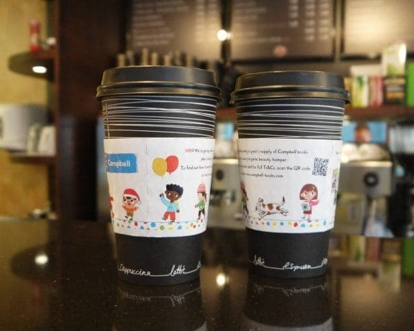 Pan Macmillan-Campbell Books Coffee Sleeve Advertising