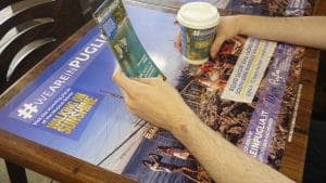 Puglia Tourism Tablewrap, Coffee Cup and Leaflet Advertising