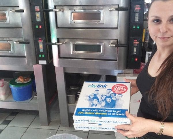 Scottish Citylink Pizza Box Advertising