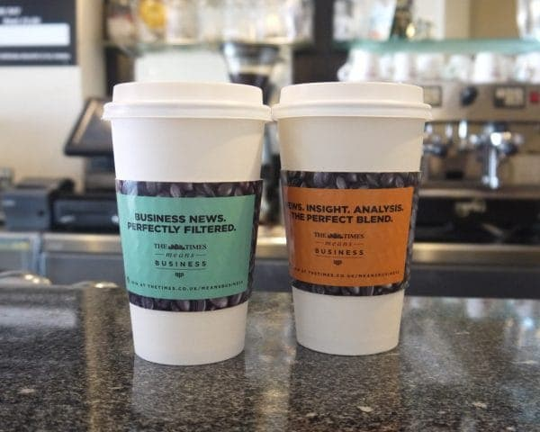 The Times Coffee Sleeve Advertising