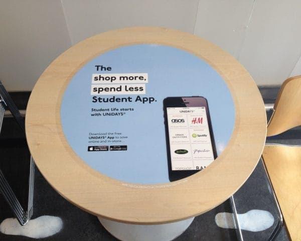 Unidays Tablewrap Advertising