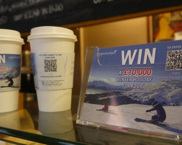 London City Airport Postcards and Coffee Sleeve Advertising
