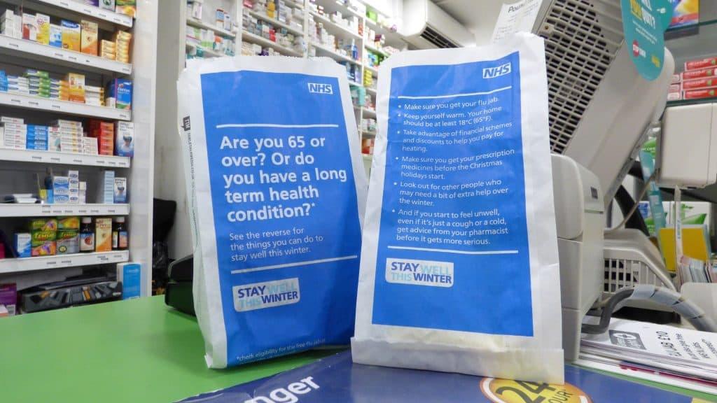 NHS Winter Wellness Pharmacy Bag Advertising