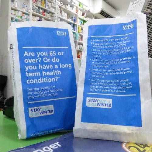 NHS Winter Wellness Pharmacy Bag Advertising
