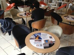 Aldi Tabletop Advertising in University Student Unions with NFC & QR