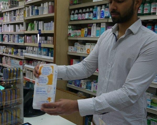 Marie Curie Pharmacy Bag Advertising