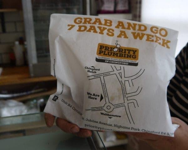 Priority Plumbing Sandwich Bag Advertising