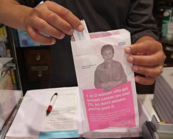 PHE Breast Cancer Awareness Pharmacy Bag Advertising