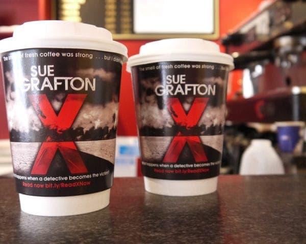 Pan Macmillan Sue Grafton Coffee Cup Advertising
