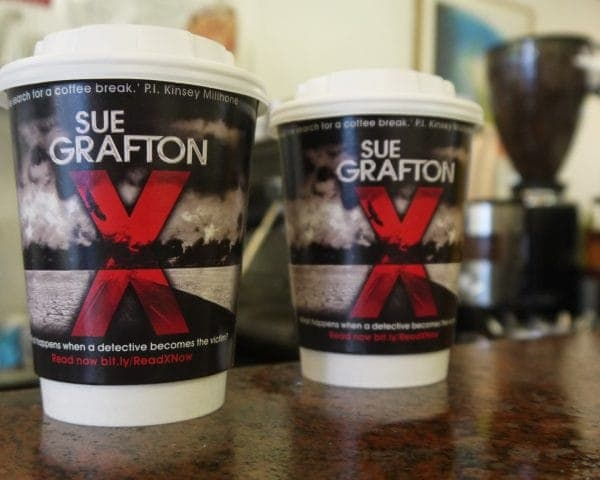 Macmillan Sue Grafton Coffee Cup Advertising