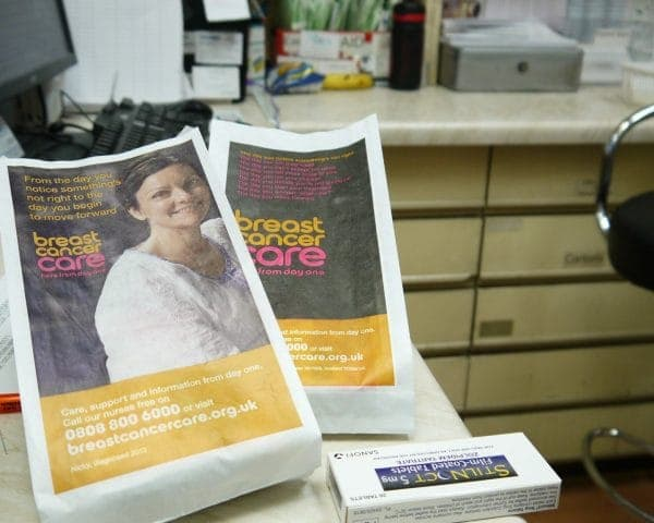 Breast Cancer Care Pharmacy Bag Advertising
