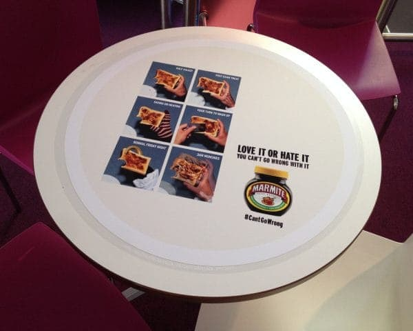 Marmite University Tablewrap Advertising