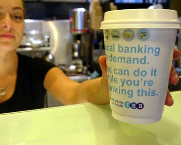 TSB Everyday Banking Coffee Cup Branding