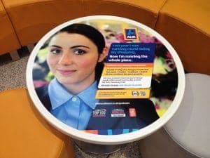 Aldi University Tablewrap Adverts