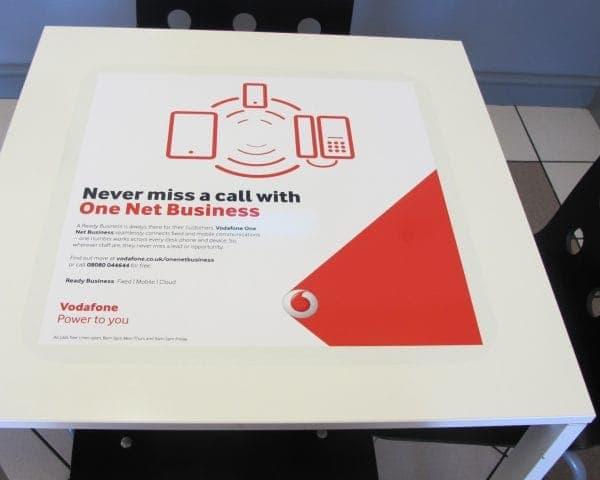 Vodafone Tablewrap Advertising