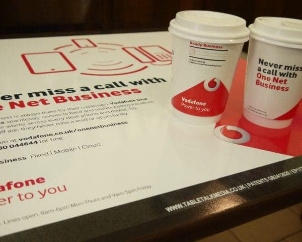 Vodafone Tablewrap and Coffee Cup Advertising