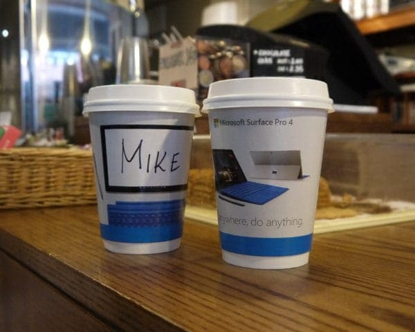 Microsoft Surface Coffee Cup Advertising