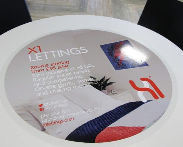 X1 Lettings University Tablewrap Advertising