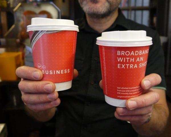 Virgin Media Business Coffee Cup Advertising