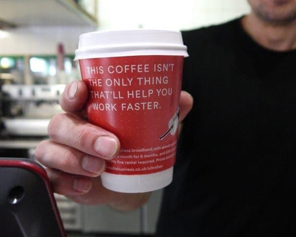 Virgin Media Business Coffee Cup Branding