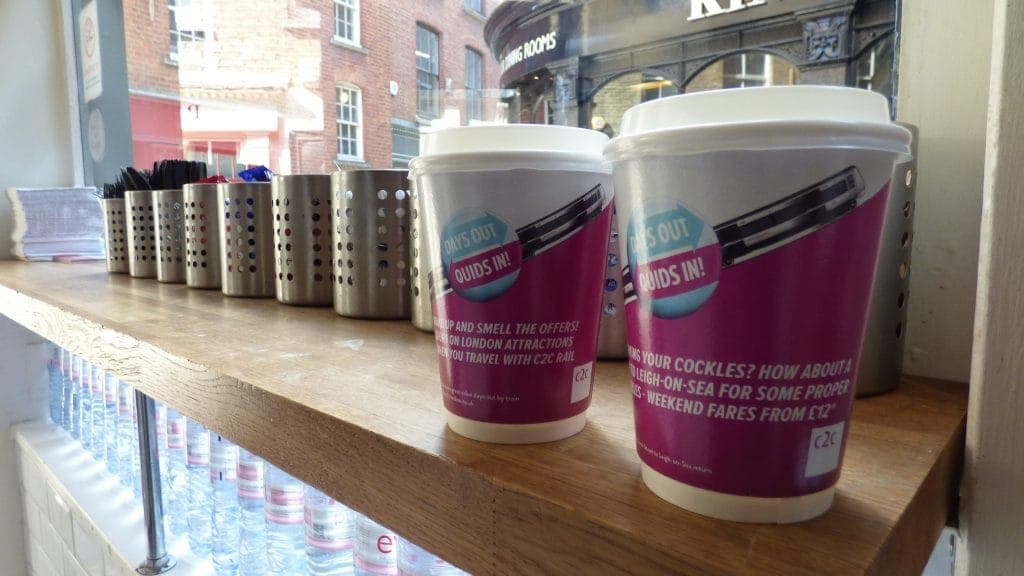C2C Trains Coffee Cup Advertising