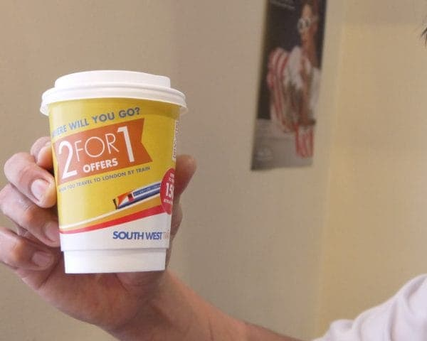 South West Trains Coffee Cup Branding