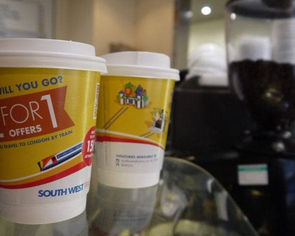 South West Trains Coffee Cup Advertising