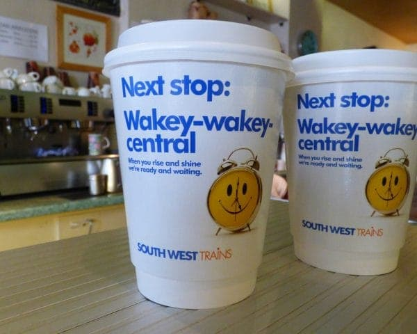 South West Trains Spring Coffee Cup Advertising