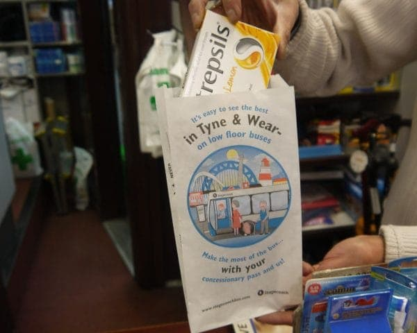 Stagecoach Bus Newcastle Pharmacy Bag Advertising