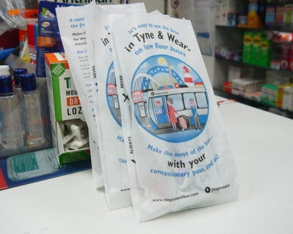 Stagecoach Newcastle Pharmacy Bag Advertising