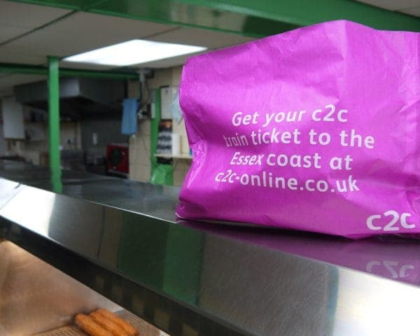C2C Trains Fish and Chip Bag Adverts