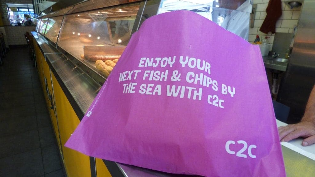C2C Trains Fish & Chip Bag Advertising