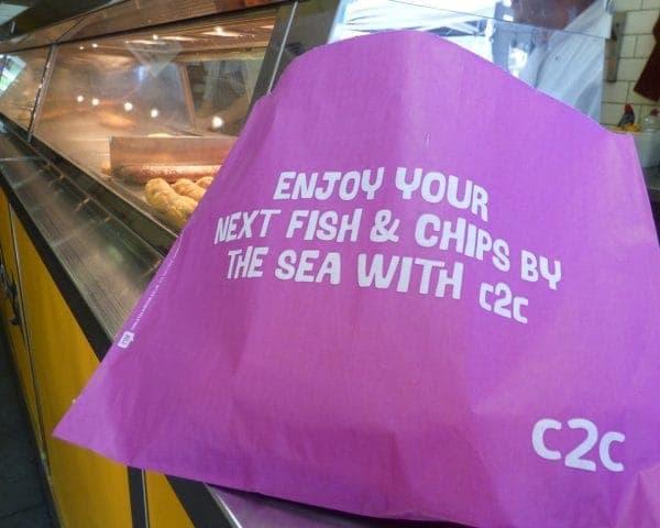 C2C Trains Fish & Chip Bag Advertising