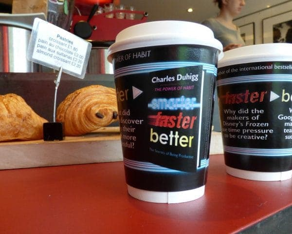 Penguin Random House Charles Duhigg Coffee Cup Advertising