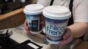 Penguin Random House Nicci French Coffee Cup Advertising
