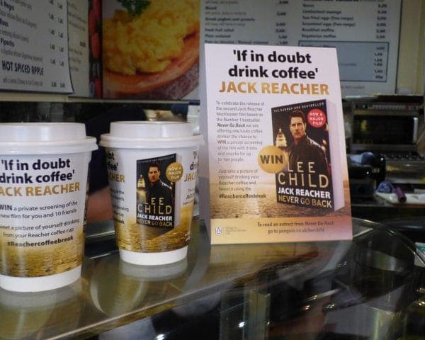 Jack Reacher Coffee Cups & Standees at Point of Sale
