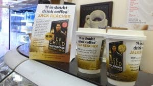 Jack Reacher Coffee Cups & Standees on the Counter