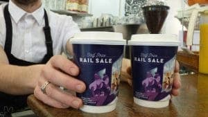 C2C Rail Coffee Cup Adverts