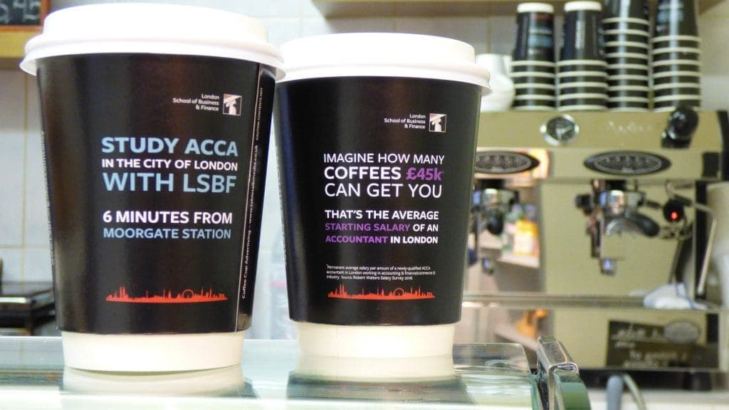 LSBF Coffee Cup Adverts