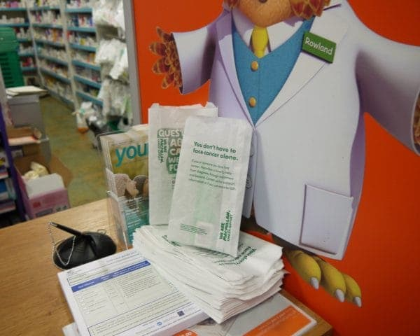 Macmillan Pharmacy Bag Adverts