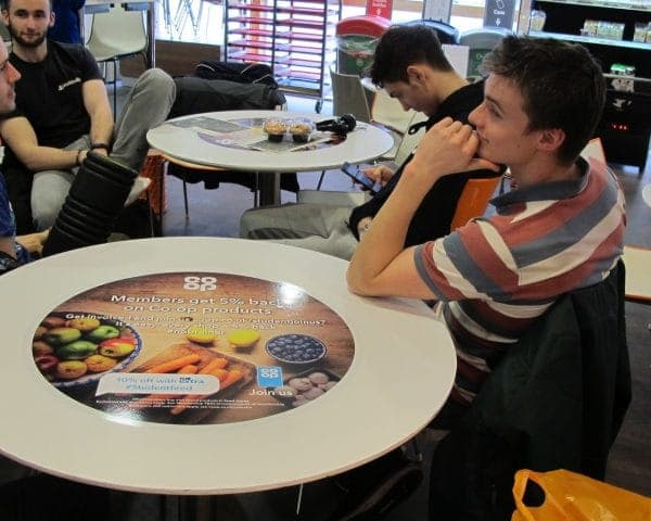 The Co-op University Tablewrap Advertising in Student Unions