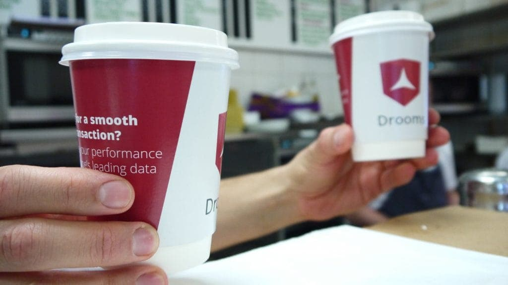 Drooms Takeway Coffee Cup Advertising in London
