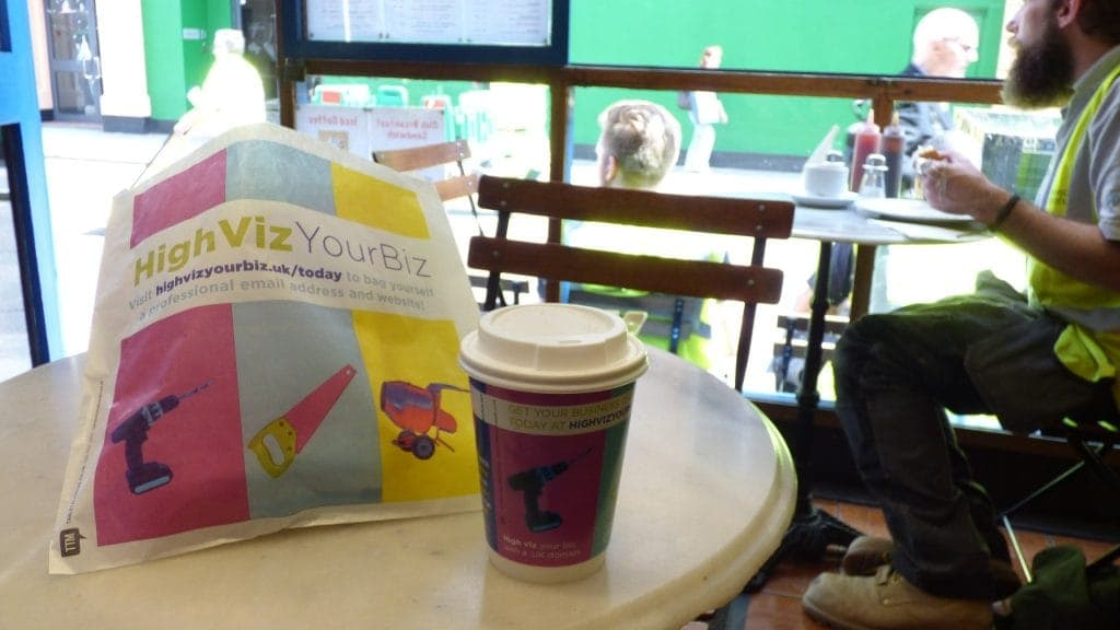 Nominet Coffee Cup & Sandwich Bag Advertising