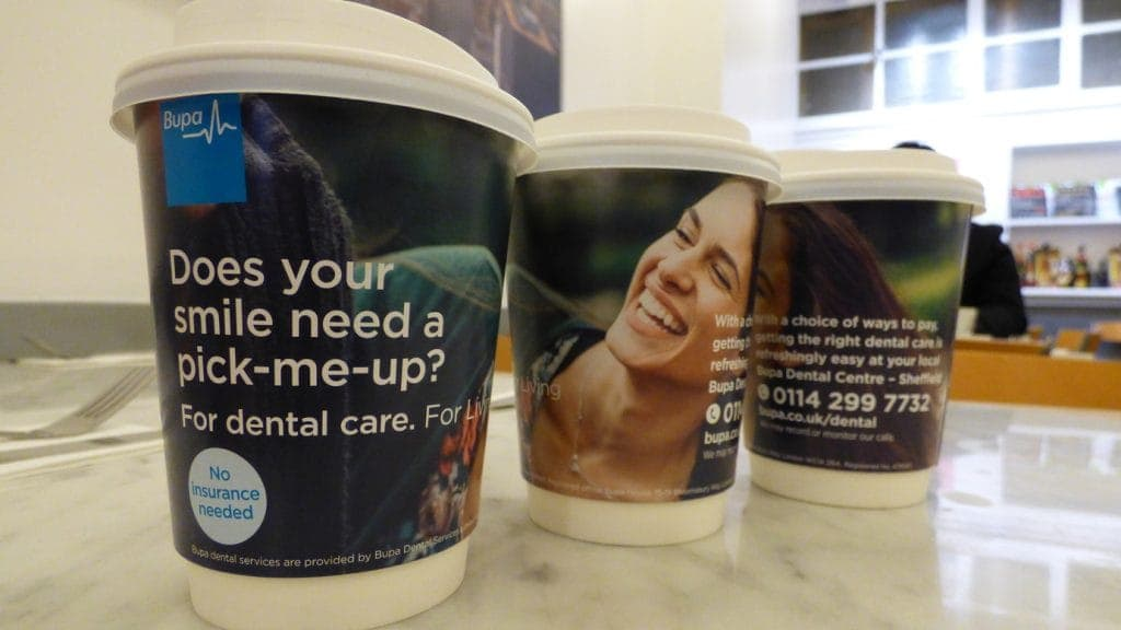 BUPA Dental Coffee Cup Advertising