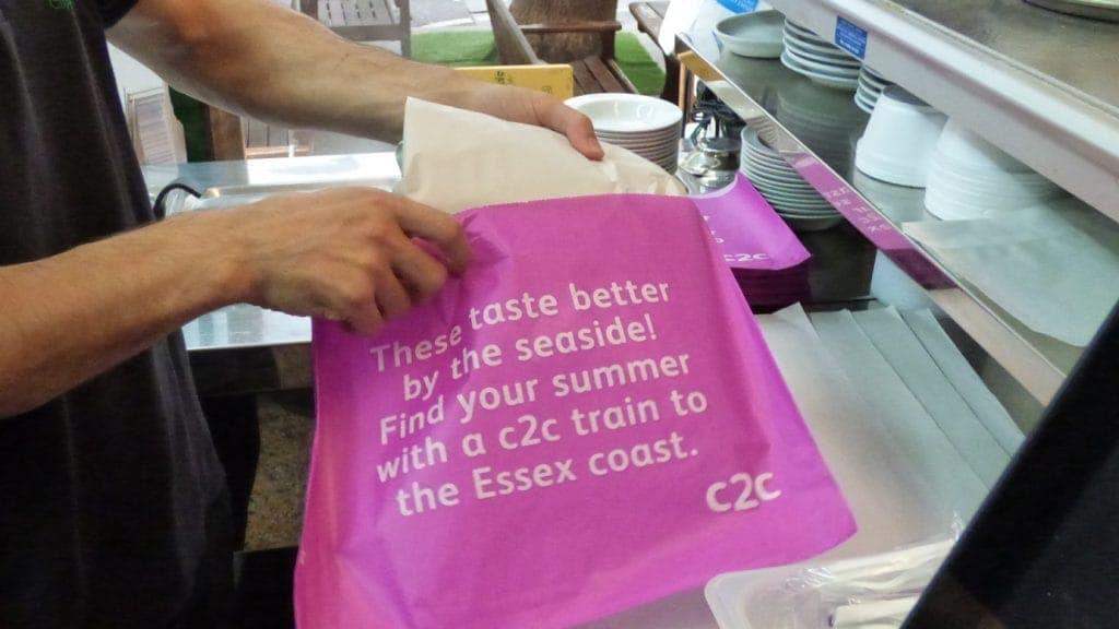 C2C Trains Takeaway Fish & Chip Bag Advertising
